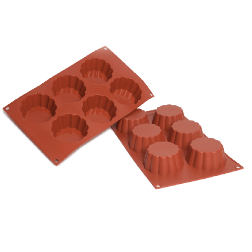 Brioche Silicone Baking Mould Flat 6-Cavity 109ML