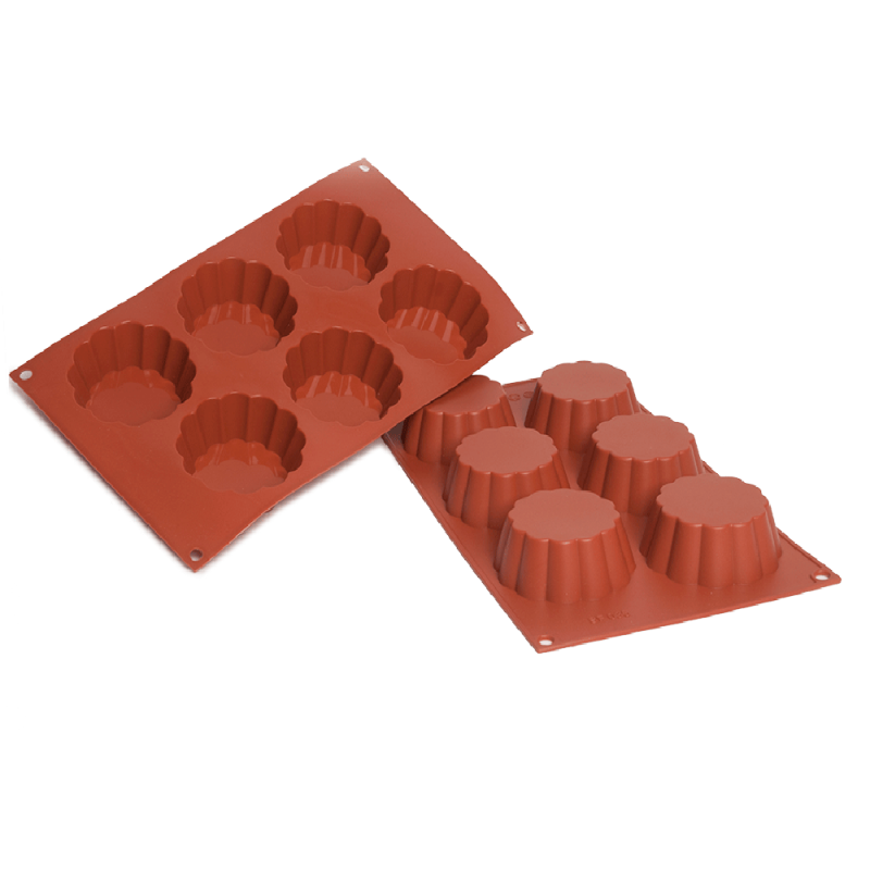 Brioche Silicone Baking Mould Flat 6-Cavity 109,4 ml