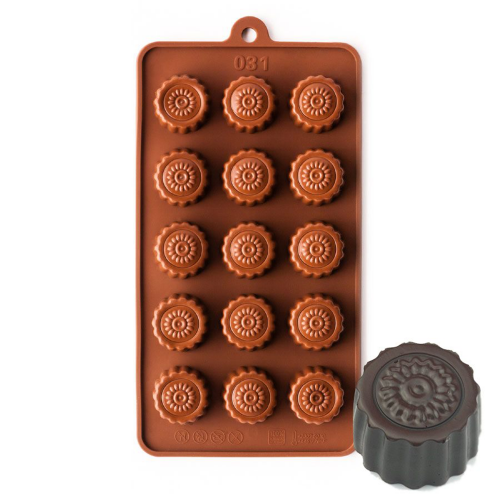 Fluted Round With Flower Silicone Chocolate Mould