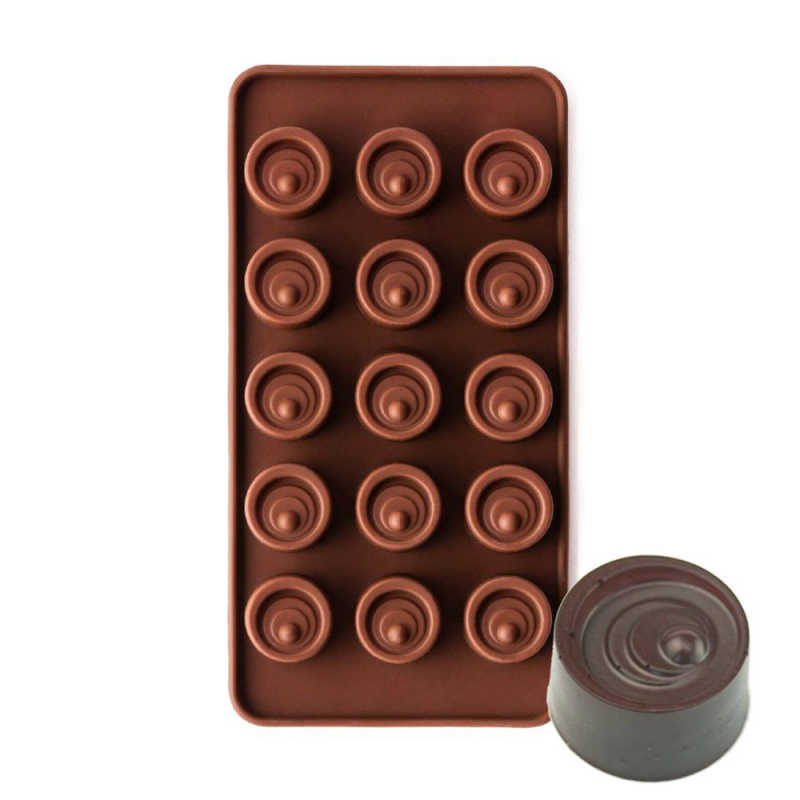 Swirled Cylinder Vertigo Silicone Chocolate Mould 15-Cavity