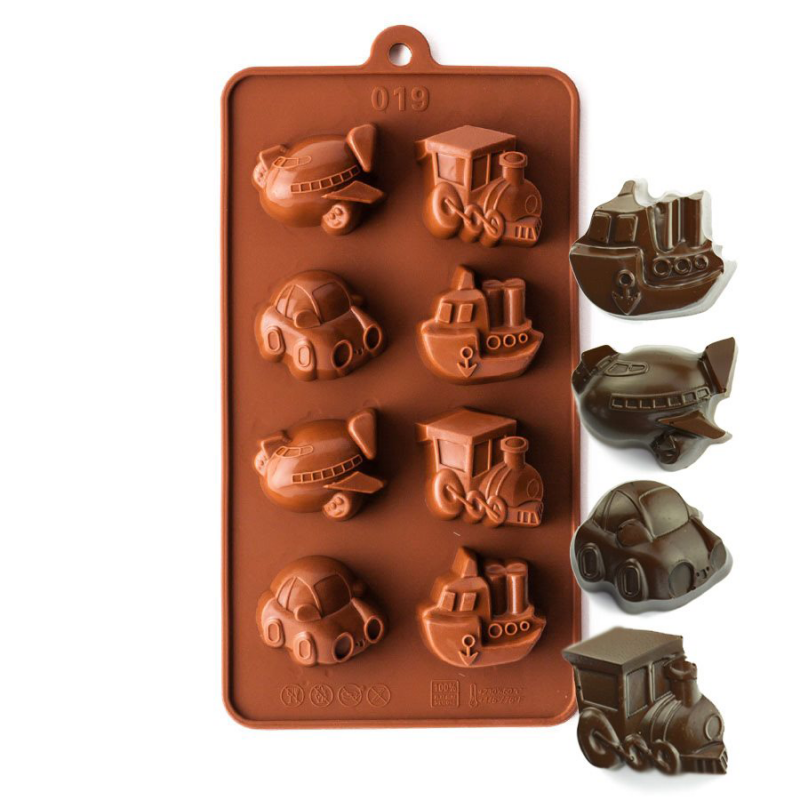 Cars, Boats, Trains and Planes Silicone Chocolate Mould 8-Cavity