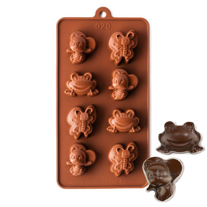 Bee, Butterfly and Frog Silicone Chocolate Mould 8-Cavity