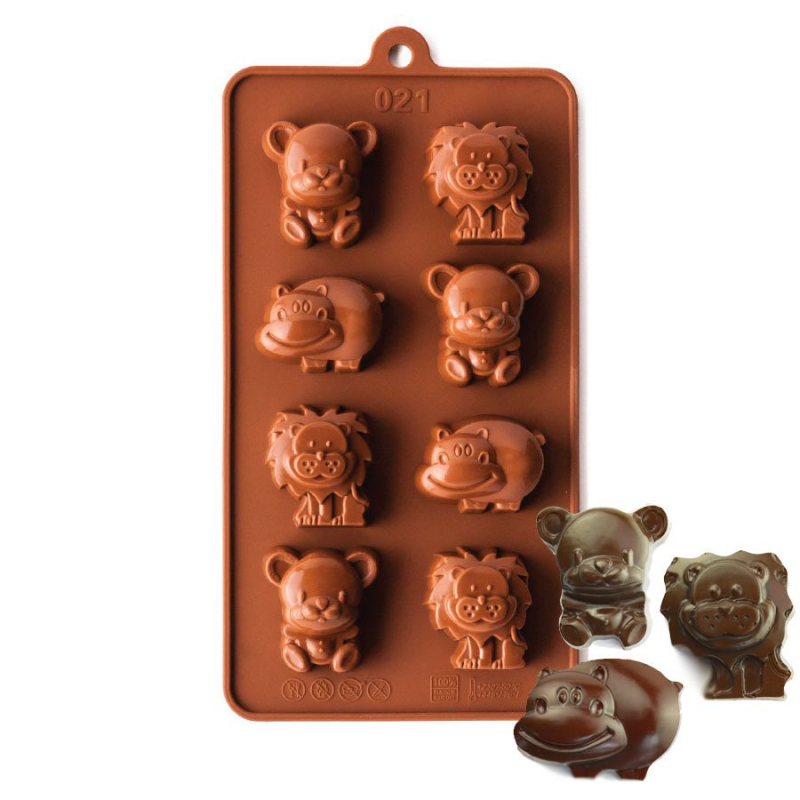 Lions and Hippos Silicone Chocolate Mould 8-Cavity