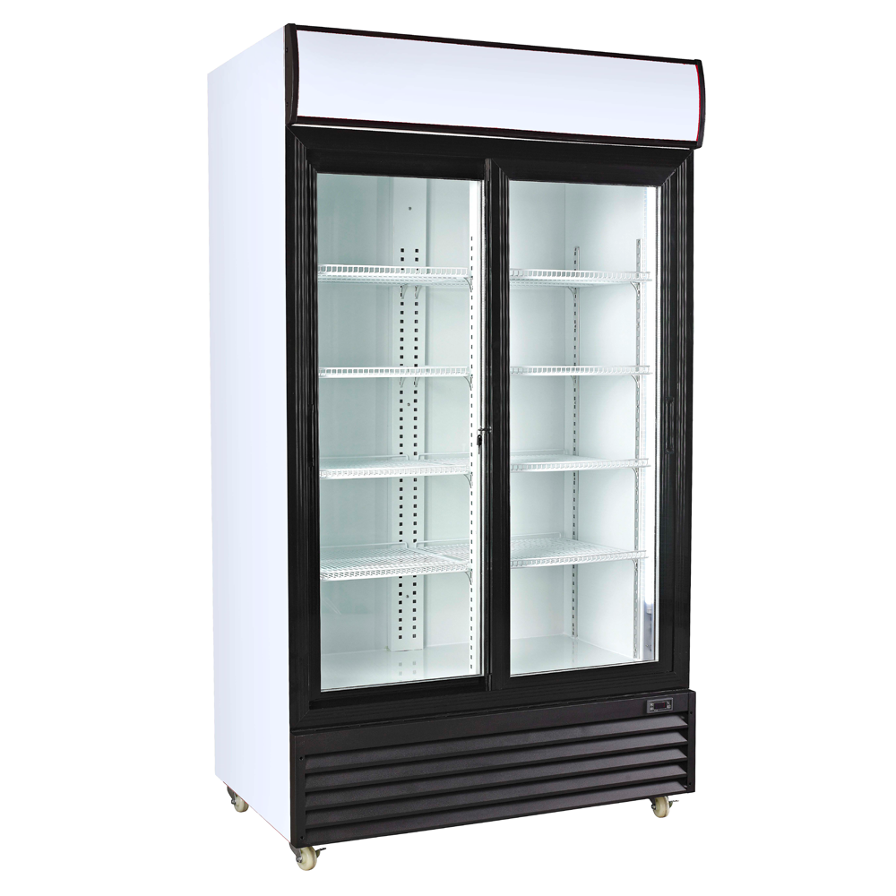 Commercial glass double door fridge commercial for Double glass doors