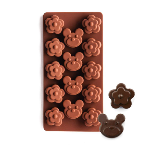 Silicone Chocolate Mould Blossom and Teddy Bear