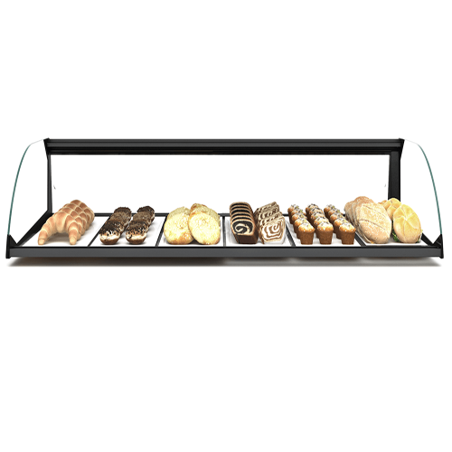 Glass Non Refrigerated Display Cabinet Simply Curved