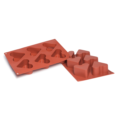 Heart Silicone Baking Mould 6-Cavity 130ML