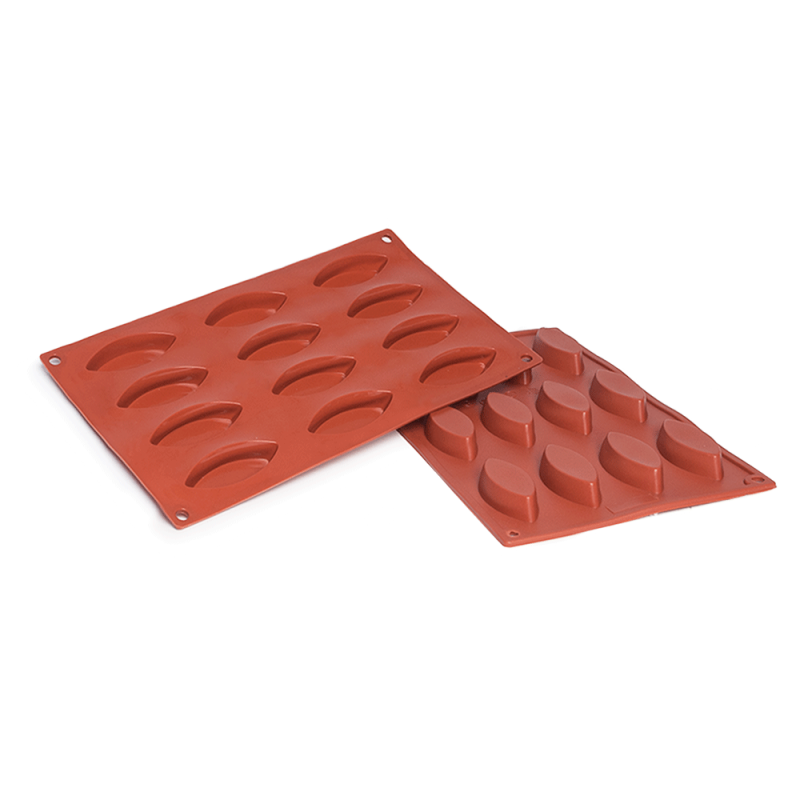 Plain Barquette Oval Boat Silicone Baking Mould 12-Cavity 20ML