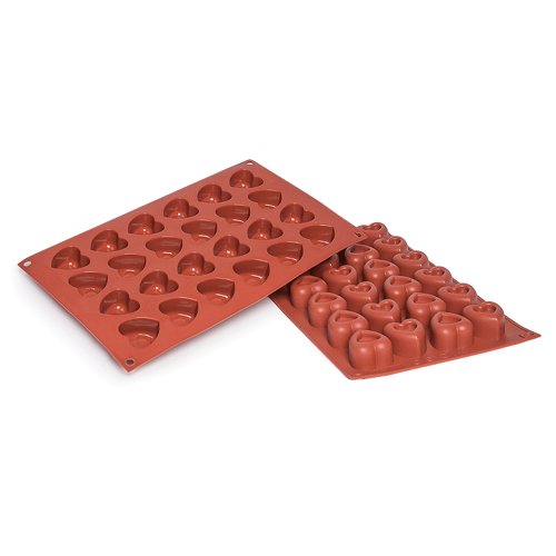 Dimpled Heart Small Silicone Baking Mould 24-Cavity 20,7 ML