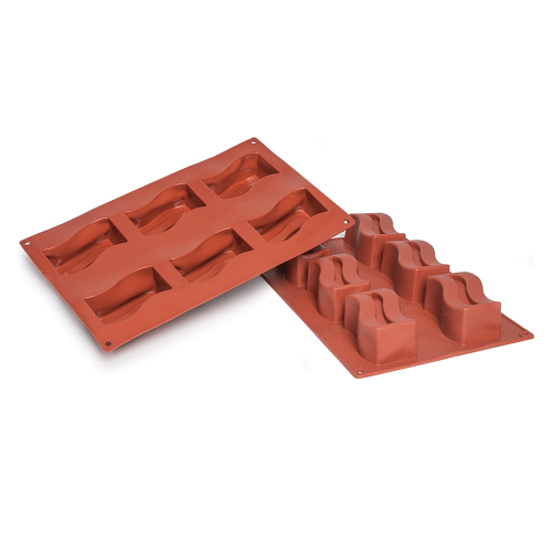 Rectangular Wave Silicone Baking Mould 6-Cavity 92ML