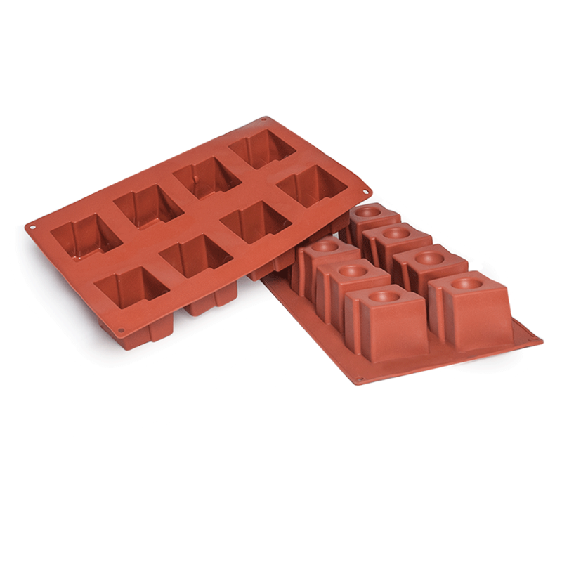 Square With Circle Silicone Baking Mould 8-Cavity 118ML