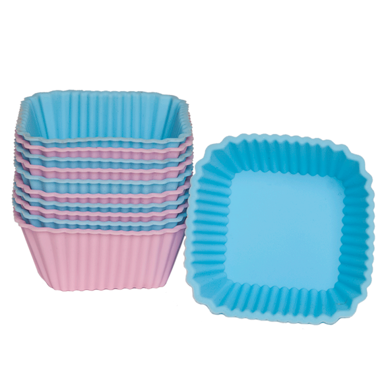 Silicone Baking Cupcake Square Shape Set of 12