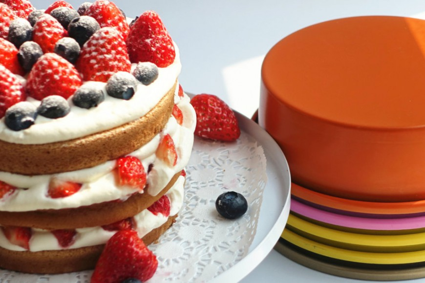 Three-layer strawberry cake